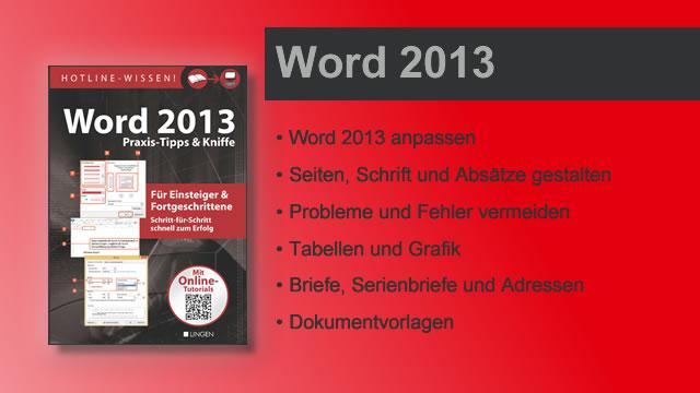 Buchvorstellung Hotline-Wissen Word 2013