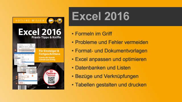 Buchvorstellung Hotline-Wissen Excel 2016