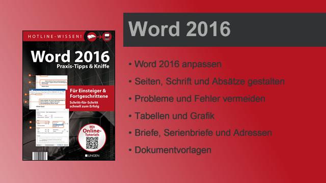 Buchvorstellung Hotline-Wissen Word 2016